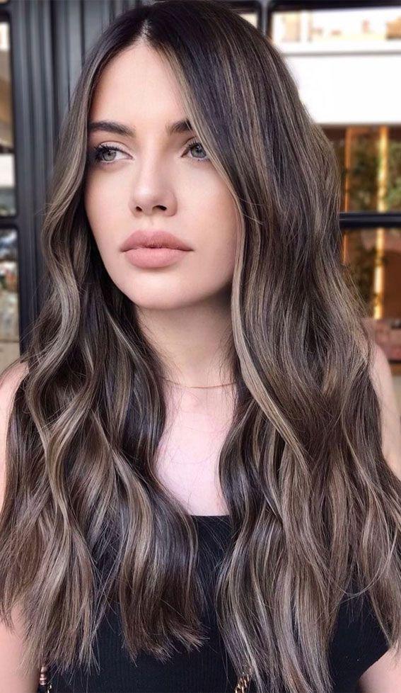 Gorgeous Hair Colour Trends For 2021 : Ash blonde highlights | Ash hair color, Brunette hair color, Straight hair highlights