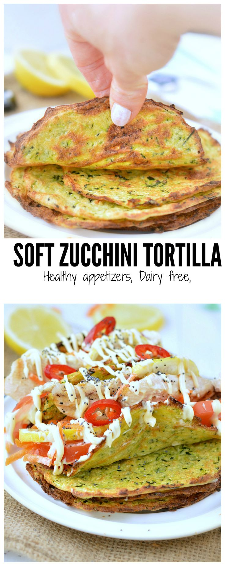 Healthy soft zucchini tortilla, no cheese only good nutritious grated zucchini, coconut flour and arrowroot flour. Yum! perfect for the next game night #zucchini #tortilla #fingerfood #appetizers