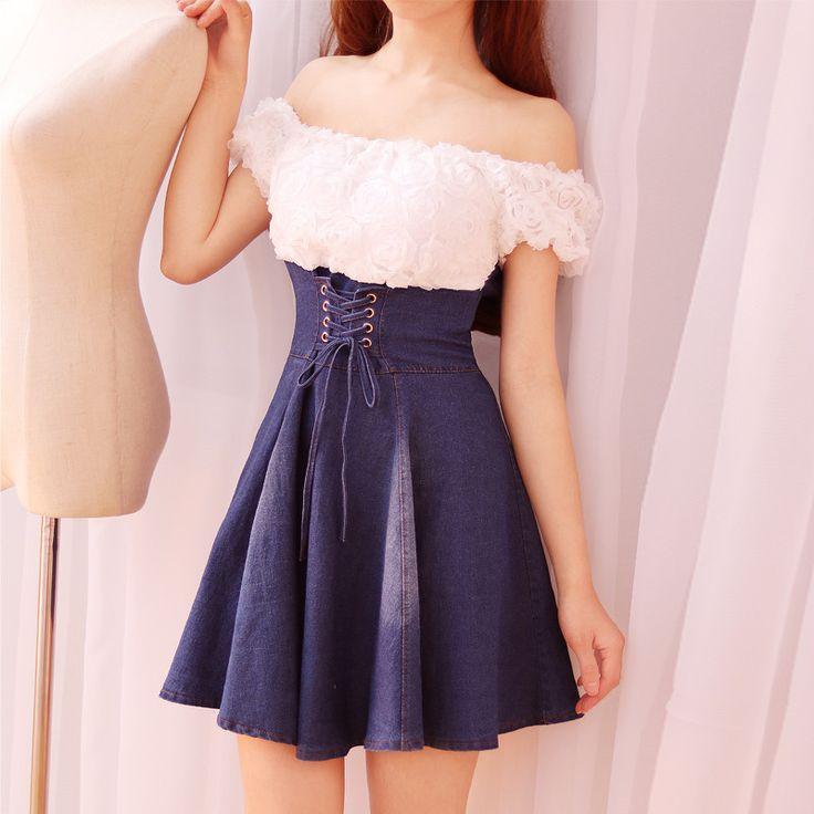 "Color:dark blue.light blue. Size: one size  Length:61cm/23.79"". Bust:66-80cm/25.74""-31.20"". Waist:66-76cm/25.74""-29.64"". Sleeve length:13cm/5.07"". Fabric :cowboy cotton. YOUVIMI CO"