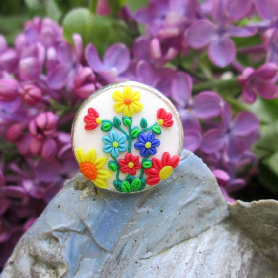 white polymer clay adjustable ring colorful fashion style boho hippie gift for her ring by FloralFantasyDreams