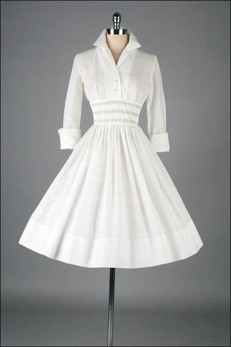 Vintage 1950s Dress White Cotton French Cuffs by millstreetvintage. Would love this in black with a big belt!