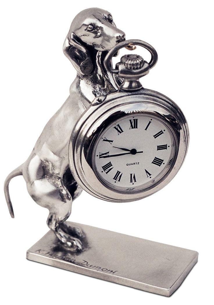 Portaorologi , bassotto con base cm h 10 (Peltro / Britannia Metal) - collezione: Cane. Cosi Tabellini.