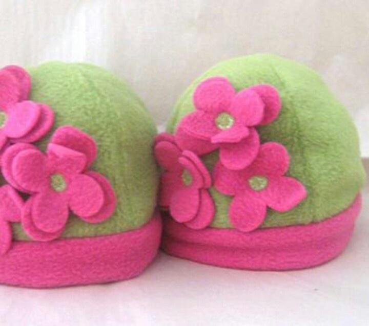 Flower fleece hats