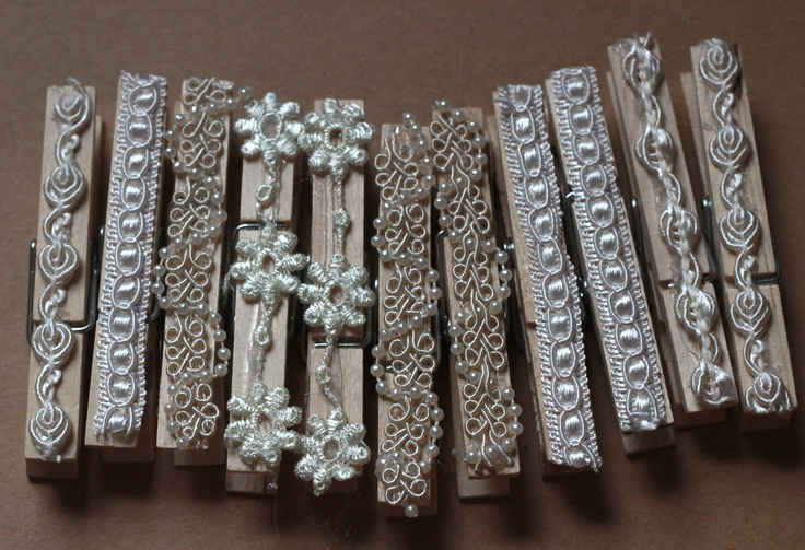Lace covered clothes pins for Lacey and Jarrod's wedding.