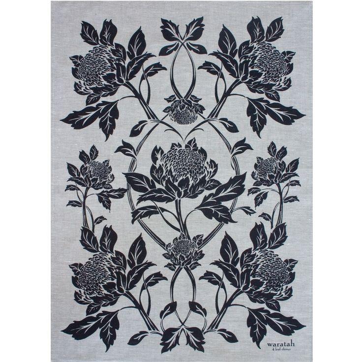 4 leaf clover — Teatowel-Waratah in Ink