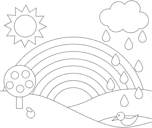 a rainbow of beautiful scenery coloring picture