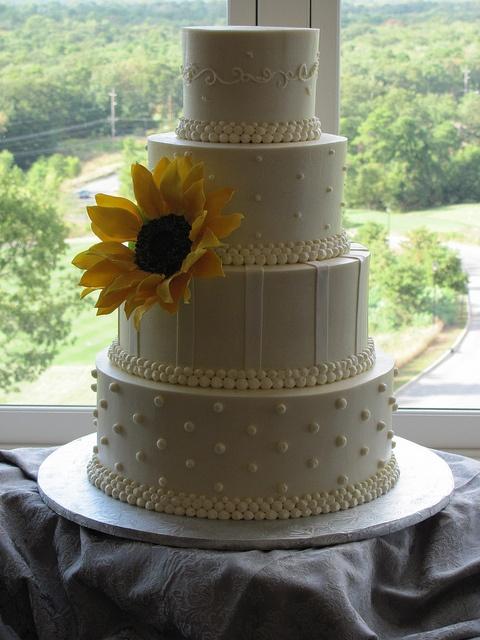 Sunflower Wedding Cake by Adelaide's Cakes