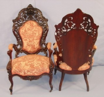 Pair of 19th century Victorian arm parlor chairs in the Hawkins pattern by J. & J. W. Meeks. All photos courtesy Stevens Auction Co.