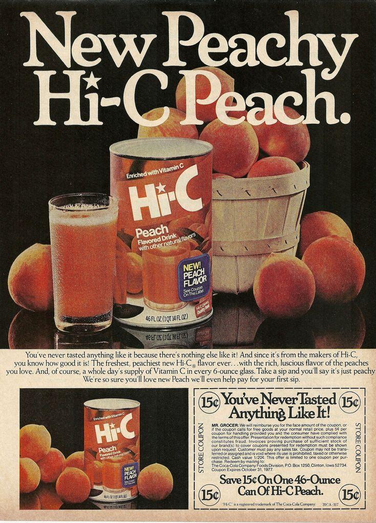 1977 Hi-C Peach Flavored Drink Print Ad