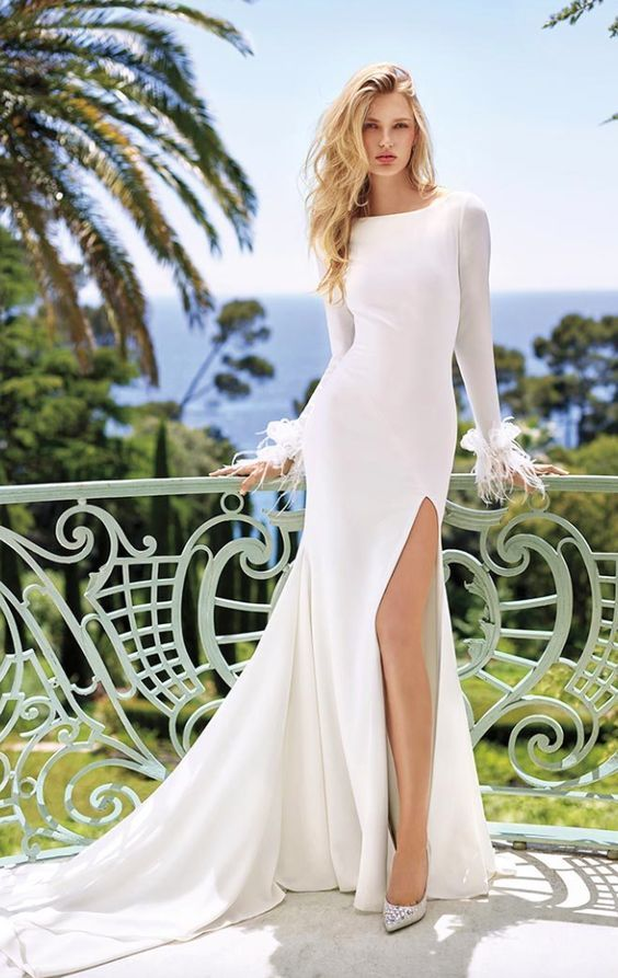 Long-Sleeve Modest Neckline Thigh Slit Wedding Dress