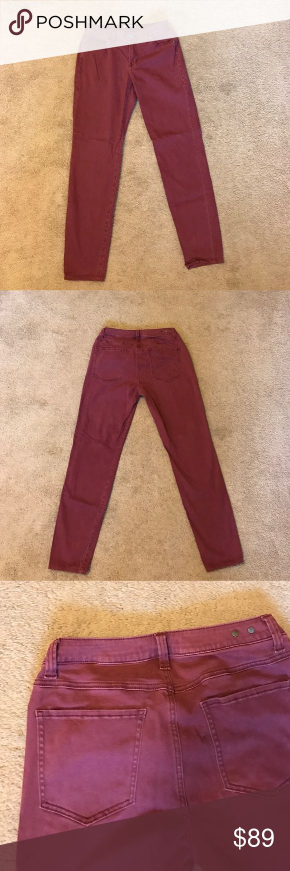 CAbi Bordeaux Skinny Jeans CAbi Bordeaux Wash Skinny Jeans. I've only worn them once. I did have them professionally hemmed and the inseam is 28.5 inches. They are incredibly soft and very comfortable. CAbi Jeans