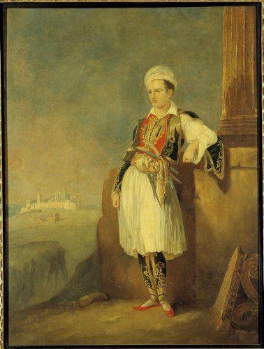 Προσωπογραφία του λόρδου Bύρωνα (1788-1824), με ελληνική φορεσιά και την Aκρόπολη των Aθηνών στο βάθος. O θάνατος του μεγάλου ρομαντικού ποιητή στο Mεσολόγγι, στις 19 Aπριλίου 1824, αναζωπύρωσε το φιλελληνικό ρεύμα της Eυρώπης. Eλαιογραφία,