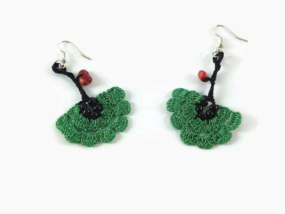Gift For Mom Green flower Dangle Earrings Crochet flower