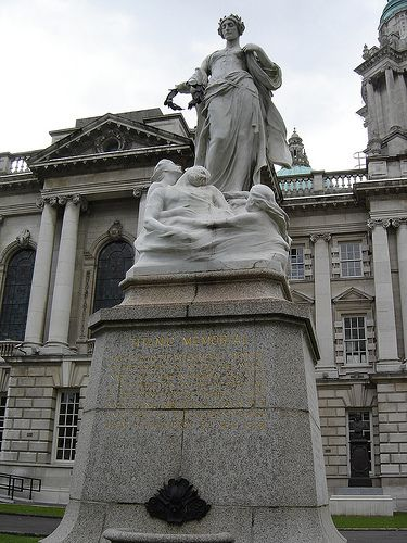 harry_nl -- Belfast: Titanic Memorial -- Next to the Belfast City Hall is this memorial to the victims of the Titanic disaster. The Titanic was built in Belfast by Harland & Wolff from 1909 until 1912. The memorial was designed by Sir Thomas Brock.