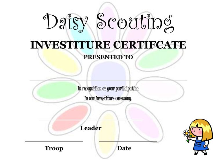 Investiture Ceremony Certificate | Daisy Stuff | Pinterest ...