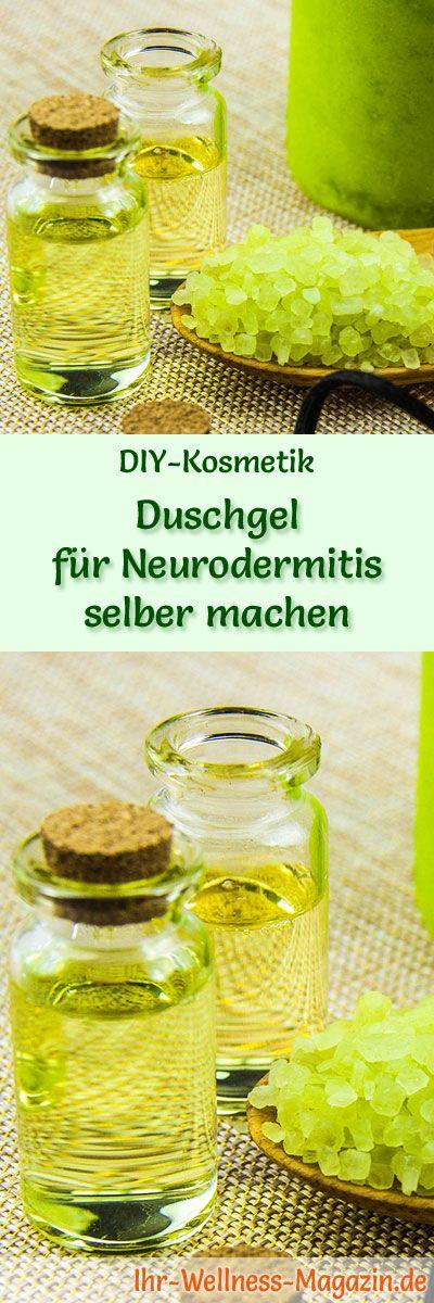 Duschgel selber machen - DIY-Kosmetik-Rezept für Duschgel für Neurodermitis aus nur 4 Zutaten mit rückfettenden Ölen, entspannenden Zusätzen zur sanften Reinigung von Problemhaut ...