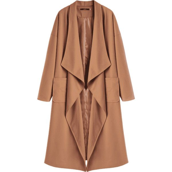 Belted Waterfall Trench Coat (€36) ❤ liked on Polyvore featuring outerwear, coats, zaful, camel waterfall coat, waterfall trench coat, trench coats, beige waterfall coat and belted coat