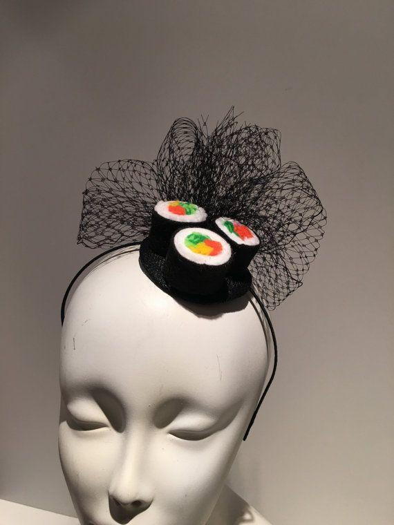 Sushi hoofdband-Sushi Fascinator-miniatuur van doramarra op Etsy