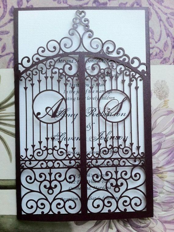image of Laser Cut Wedding Invitation, Die Cut Monogram Iron Gate Bi Folding Pattern, Custom Luxury Invitation
