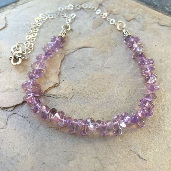 Amethyst Teardrop Necklace finished with by EastVillageJewelry