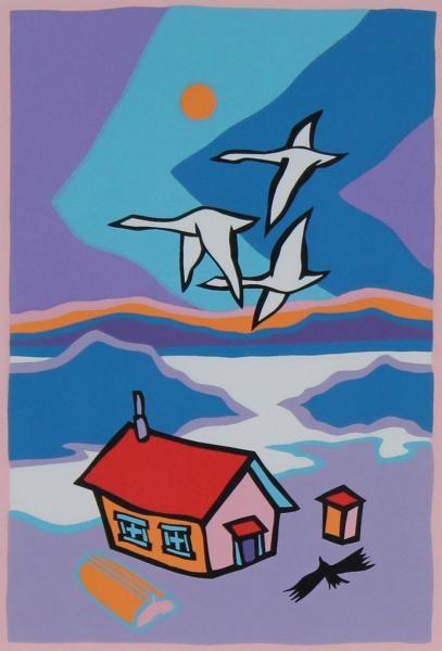 Ted Harrison - Flight, Serigraph