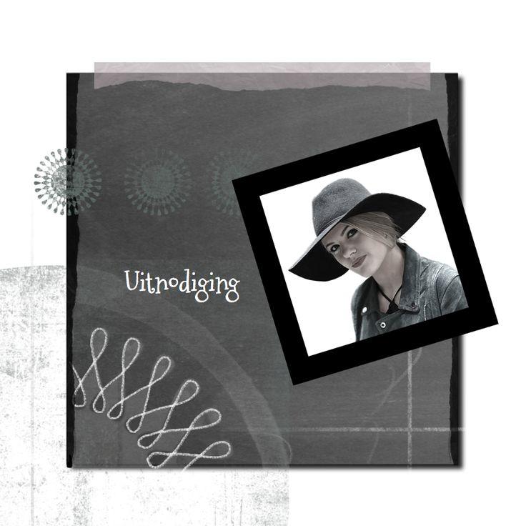Uitnodiging schoolbord foto-IP, verkrijgbaar bij #kaartje2go voor €1,89
