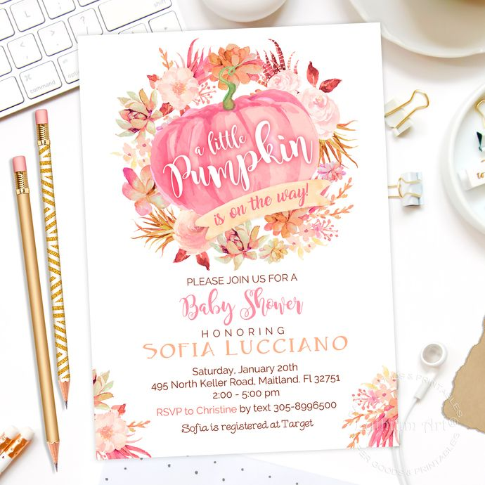 Pumpkin Baby Shower Invitations, Pink Pumpkin Invitation, Watercolor Floral Pumpkin, Girl Fall Baby Shower Invitations, Extra Cards included by Lythiumart, $12.99 USD