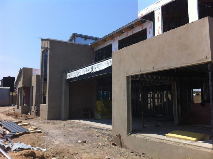 Steel Frame House - Outside plastering Lounge, Patio & Pool area (16/10/12)