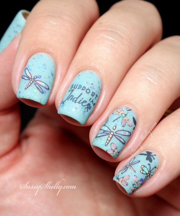 Dragonfly Nail Art - stamping decals with the Uber Mat, UC 4-01 and KBShimmer indie polish / UberMat GIVEAWAY  | Sassy Shelly