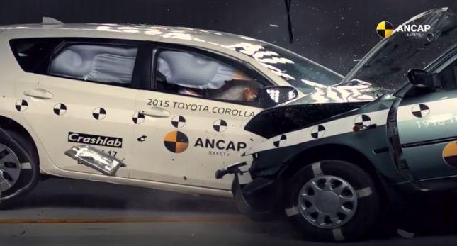 CAR-TO-CAR+CRASH+TEST:+1998+Toyota+Corolla+vs.+2015