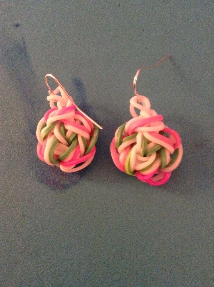 Cute rainbow loom earrings!!!