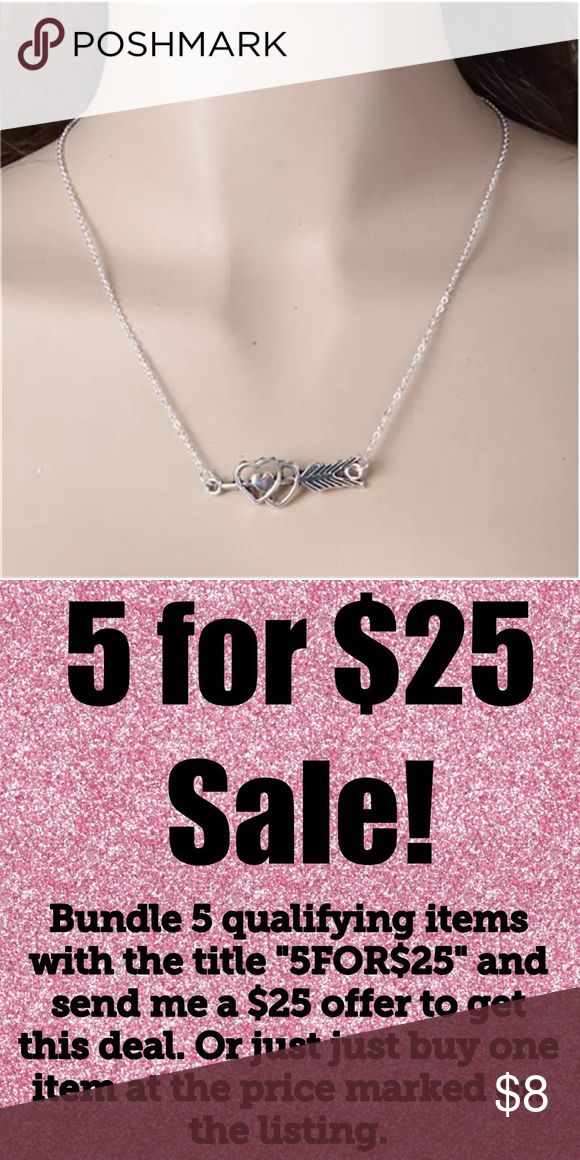 5/$25 Heart Arrow Silver Statement Necklace Heart Arrow Silver Tone Necklace  All jewelry comes in organza gift bag.  Perfect for prom!  See my other listings with 5 for $25 SALE and save on a bundle! Lots of clothes, bags, jewelry and new boutique items. Great for gift giving. I love accepting offers. Boutique Jewelry Necklaces #jewelrynecklaces