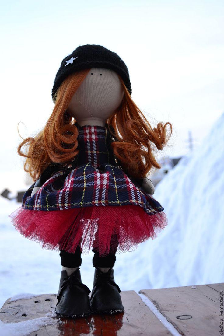 Купить Кукла-байкерша - ярко-красный, черный цвет, кукла ручной работы, кукла