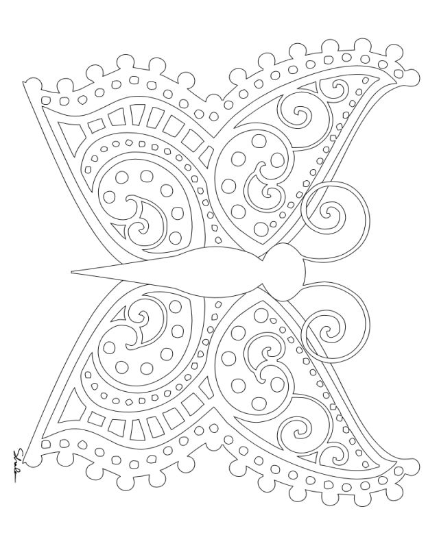 Free butterfly coloring page for summer by Don't Eat The Paste