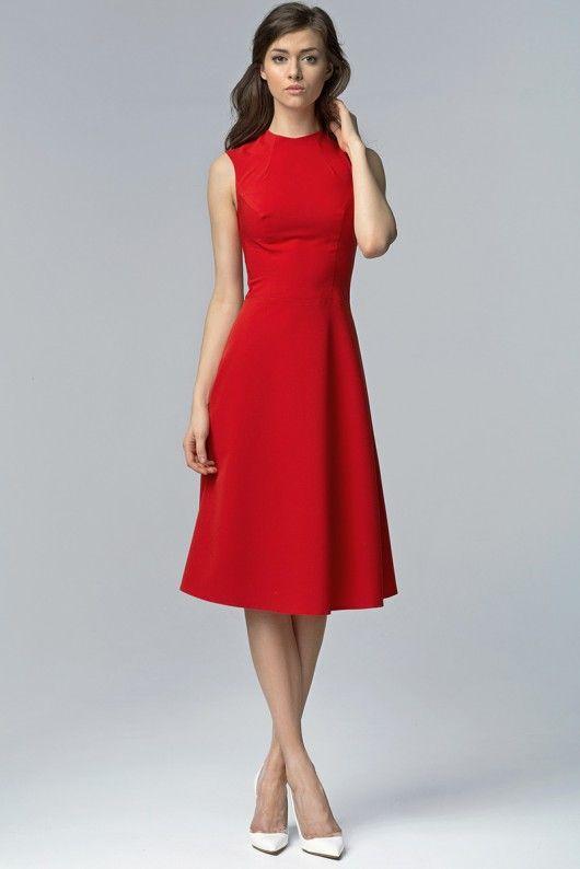 Elegancka sukienka MIDI s62 - czerwony