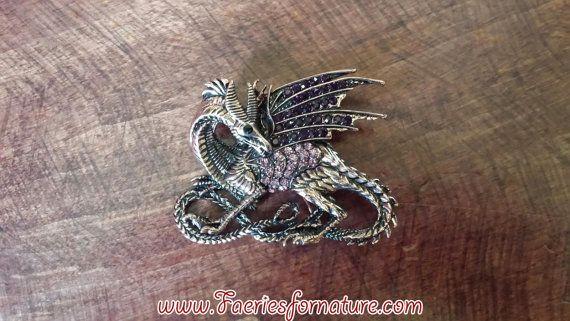 Copper & Amethyst Dragon Brooch by FaeriesForNature on Etsy