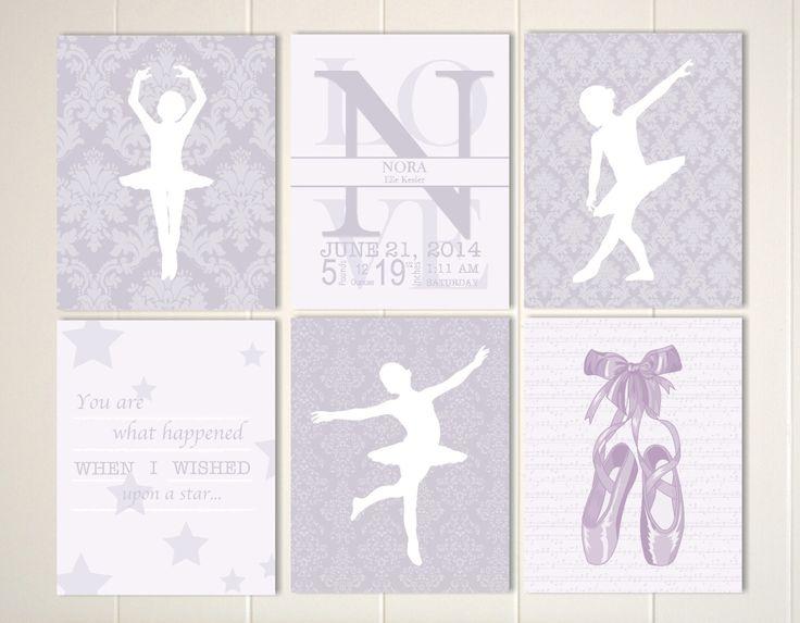 Baby girl nursery art, damask nursery art, ballerina nursery, ballet slippers, baby monogram art, custom colors, Set of 6 prints by PicabooArtStudio on Etsy https://www.etsy.com/listing/195457133/baby-girl-nursery-art-damask-nursery-art