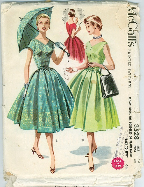 LOVELY Full Skirt Dress Pattern McCalls 3528 Bordered Or Plain Fabric Easy To Sew Figure Flattering Rockabilly Vintage Sewing Bust 38