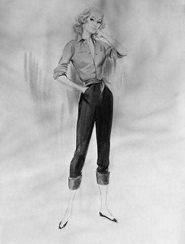 Grace Kelly costume sketch by Edith Head