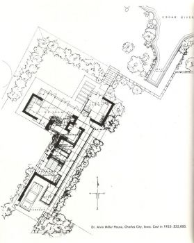 Usonian Miller House and Site Plan by Frank Lloyd Wright 1952