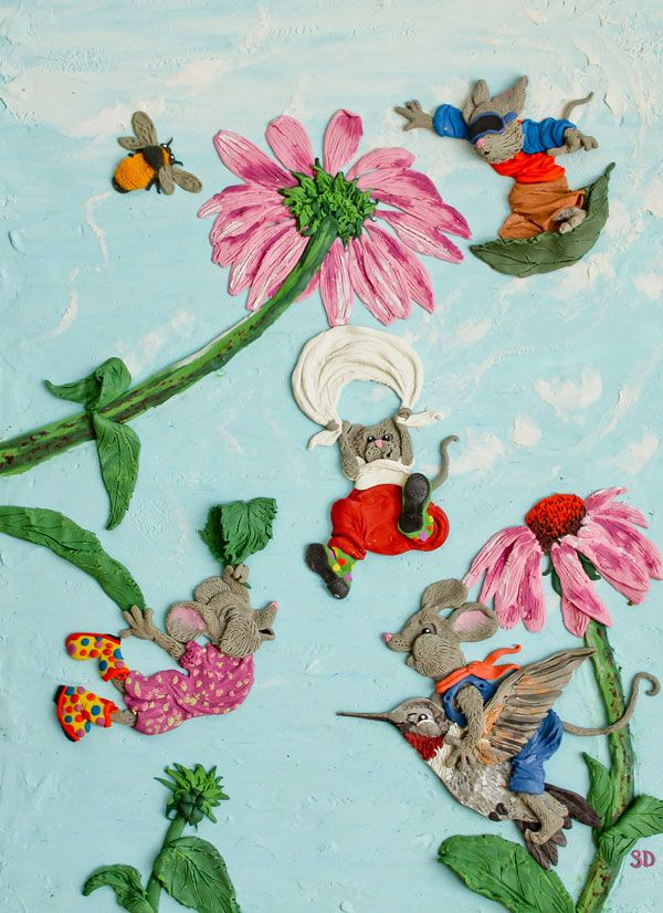 Mice sky surfing and jumping off flowers. Plasticine illustration