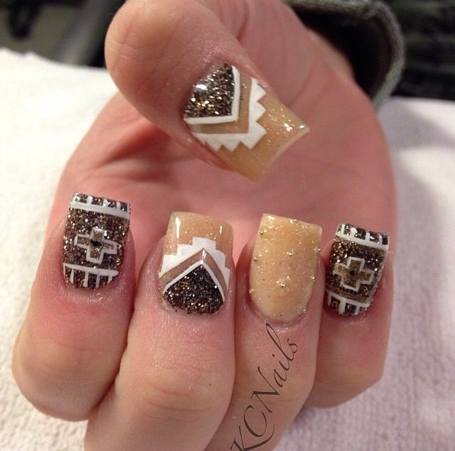 996 best nails galore images on pinterest nail designs brown beige solid acrylic nails hand painted tribal nail art with gold micro beads prinsesfo Image collections