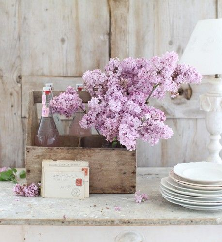 Decorando com simplicidadeDecor Time, Gardens Decor, Country Parties, Beautiful Lavender, Pretty Flowers, Colors Lilac, Country Party, Gardens Parties, Boxes Milk Crates