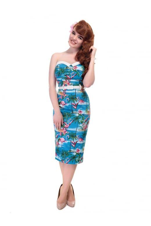 Retro Tiki, Tropical, Hawaiian Style Dresses Collectif Mainline Monica Flamingo Island Pencil Dress £46.50 AT vintagedancer.com