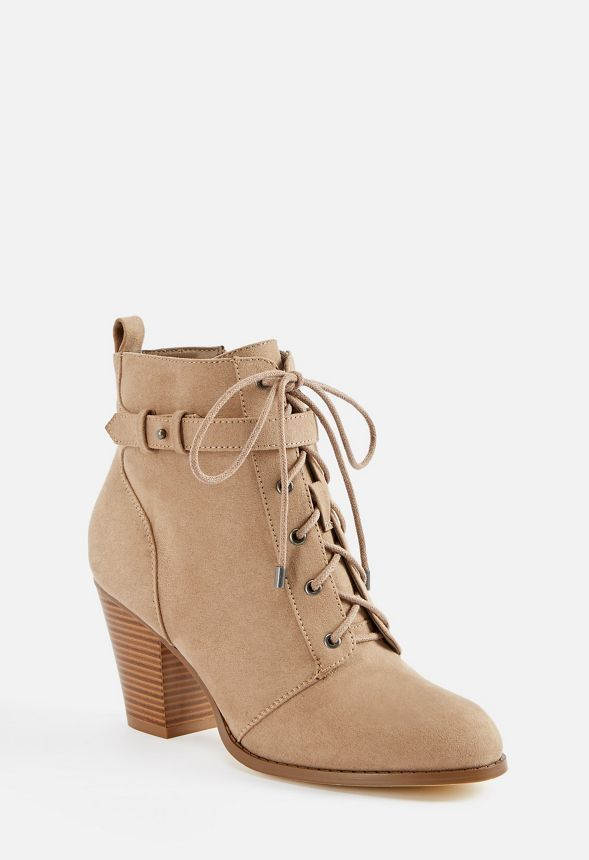 e95a79d6d3 Dally Lace-Up Bootie in Taupe - Get great deals at JustFab ...