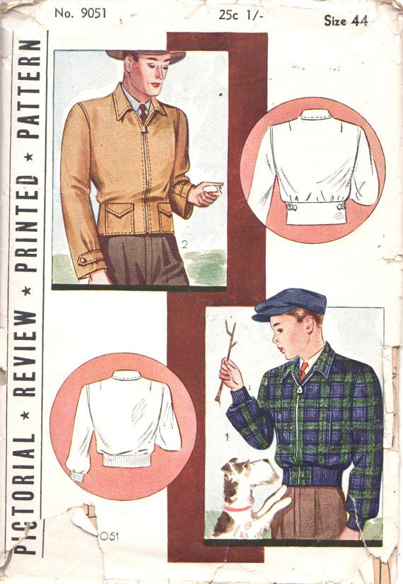 Pictorial Review 9051 1920s Mens Windbreaker JACKET Pattern Zip Front Adult ORIGINAL Pictograf Vintage Sewing Pattern Size  Chest  44 FF