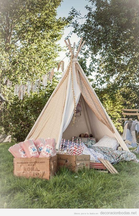 Tipi para niños, idea original boda vintage aire libre
