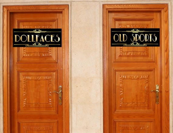 "decorations for roaring 20s {say goodbye to the roaring 20s} party - bathroom signs ""dollfaces"" ""old sports"""