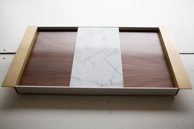 Serving tray with sliding marble cheese board by Ladies & Gentlemen Studio.  Photography by Sachin Khona