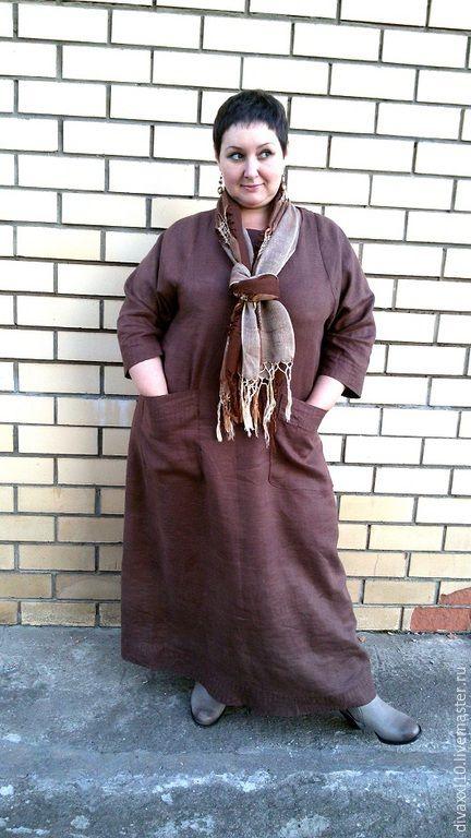Купить Платье коричневое - коричневый, однотонный, платья, платье на заказ, платье для полных, одежда для женщин